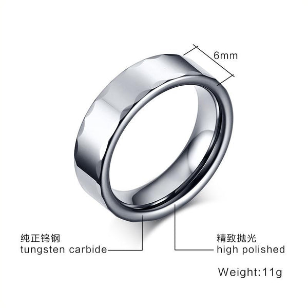 White Tungsten Patterned Rims Engagement Ring Wedding Band Wholesale 6mm - Ables Mall