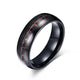 Black Tungsten Red Graphite Inlay Wedding Band Wholesale 8mm