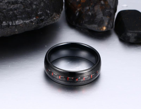 Black Tungsten Red Graphite Inlay Engagement Band Wholesale 8mm - Ables Mall