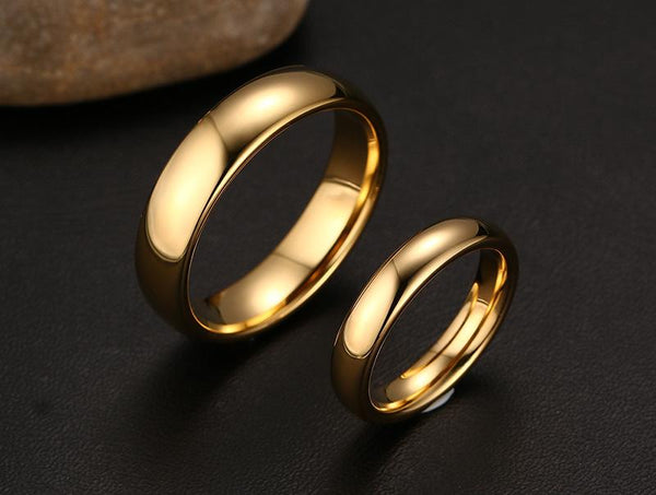 Classic Domed Gold Tungsten Engagement Band Couple Ring Wholesale Plated 4mm 6mm - Ables Mall