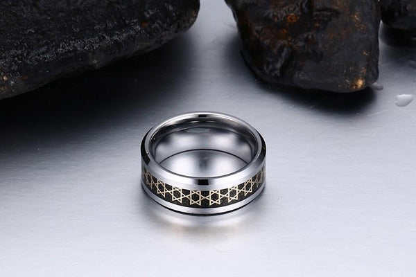 White Tungsten Hexagram Engagement Band Graphite Ring Wholesale 8mm - Ables Mall