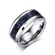 White Tungsten Blue Graphite Inlay Wedding Band Wholesale 8mm