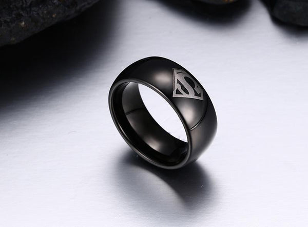 Black Tungsten Engraved Superman Engagement Band Wholesale 8mm - Ables Mall