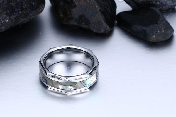 White Tungsten Shell Inlay Engagement Band Nut Ring Wholesale 8mm - Ables Mall