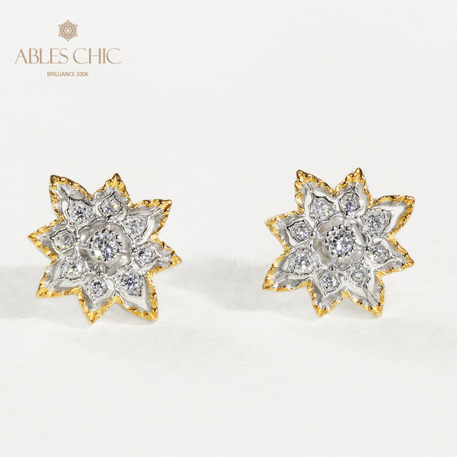 Solid Sterling Silver Star Studs Gold Vintage Flower Cubic Zirconia Earrings Renaissance Art Craftsmanship Fine Jewelry Wholesale China