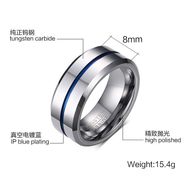 Solid White Tungsten Engagement Ring Blue Groove Band Wholesale 8mm - Ables Mall