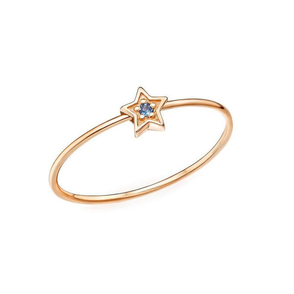 Twinkle Star Ruby Gemstone Accented Stackable Ring in 14K Gold - Ables Mall