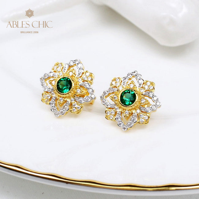 Two Layer Clover Earrings 925 Silver Paved CZ Flower Petal Earring 18K Gold Tone Renaissance Emerald Blossoms Studs C11E4S25494 Wholesale China
