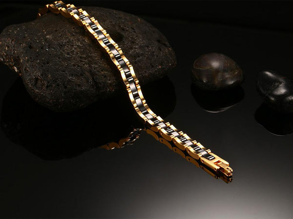 Gold Tungsten Carbide Tennis Bracelet Black Ceramic Links Wholesale Plated 7.5mm - Ables Mall