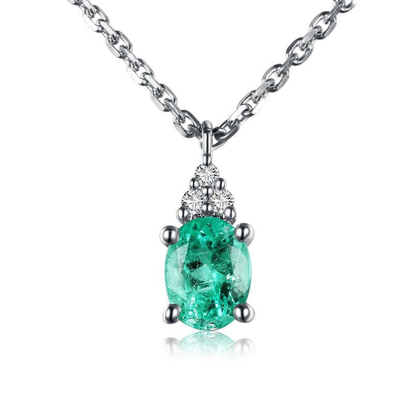 Diamond Accent Natural Emerald Gemstone Pendant Necklace in 18K Gold - Ables Mall