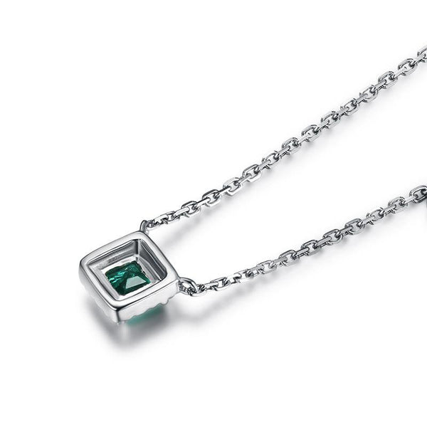 Diamond Accent Natural Emerald Gemstone Necklace in 18K Gold - Ables Mall