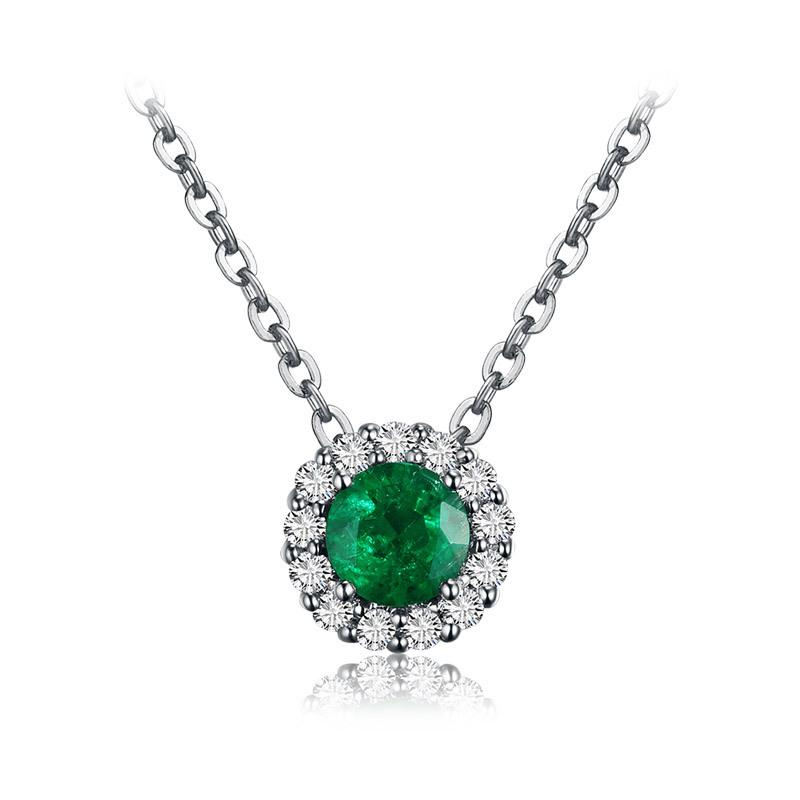 necklace natural ct gold pendant with in round emerald and pin cut white