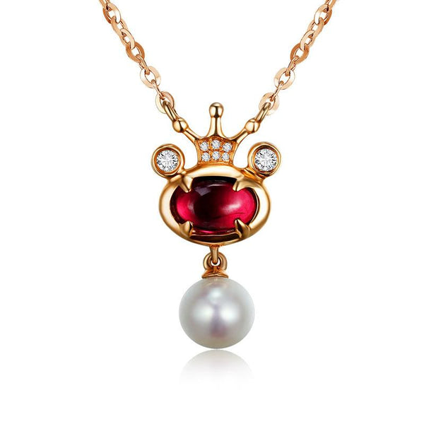 Diamond Pearl Accent Natural Tourmaline Gemstone Pendant Necklace in 18K Gold - Ables Mall