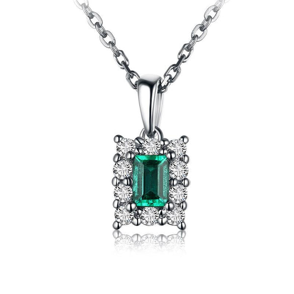 Diamond Accented Halo Natural Emerald Gemstone Pendant Necklace in 18K Gold - Ables Mall