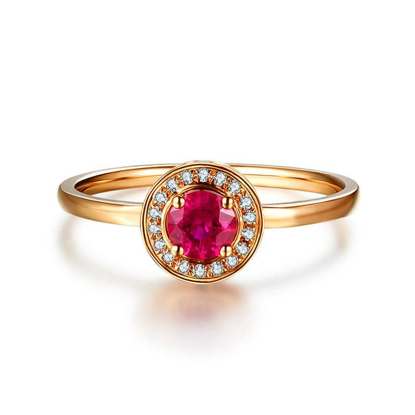Natural Ruby Gemstone Engagement Wedding Ring With Diamond Halo in 18K Gold Y5R1G11001 - Ables Mall