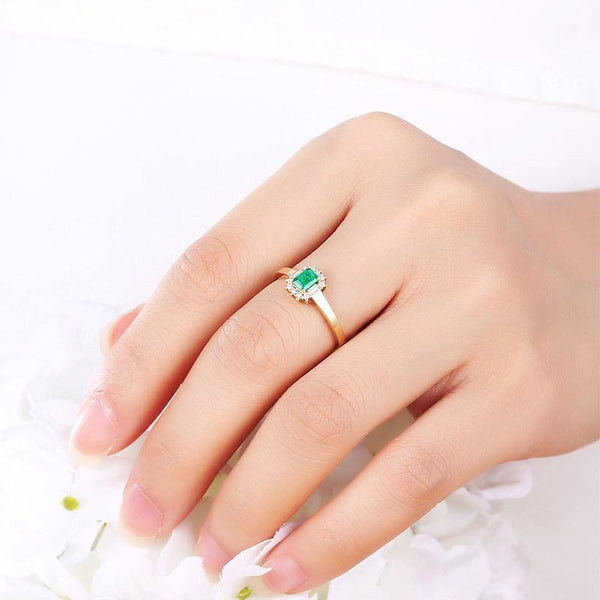 Natural Emerald Gemstone Diamond Accent Engagement Wedding Ring in 18K Gold - Ables Mall