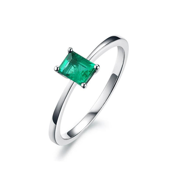 Natural Emerald Gemstone Solitaire Engagement Ring in 18K Gold - Ables Mall