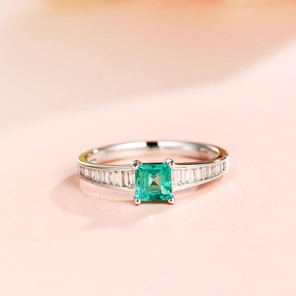 Natural Emerald Gemstone Diamond Accent Engagement Ring in 18K Gold - Ables Mall