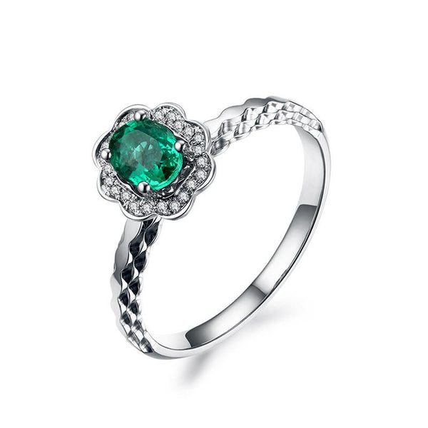 Natural Emerald Gemstone Diamond Accent Flower Engagement Ring in 18K Gold - Ables Mall