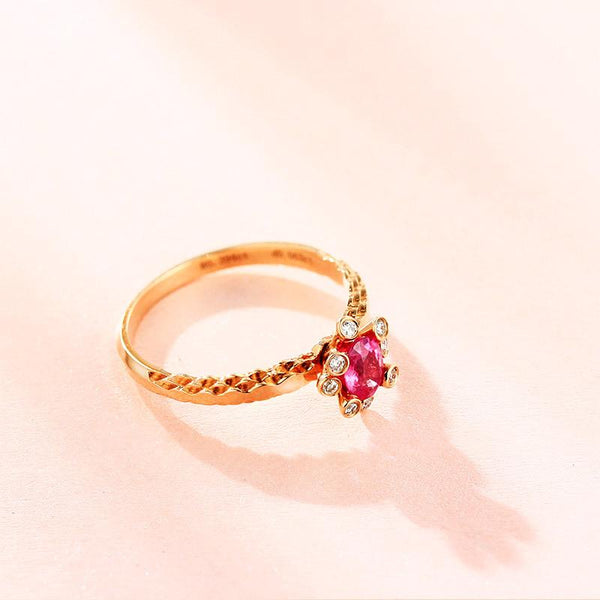 Natural Ruby Gemstone Diamond Accent Engagement Ring in 18K Gold - Ables Mall