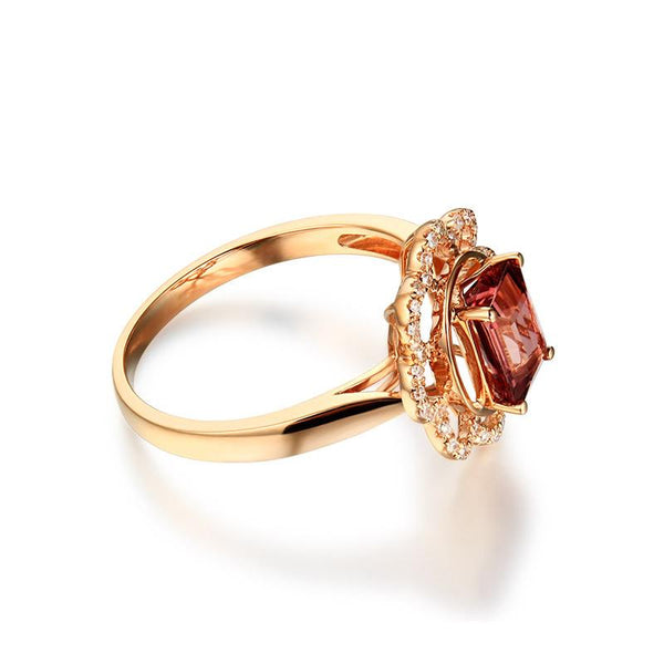 Natural Tourmaline Gemstone Diamond Accent Flower Engagement Ring in 18K Gold - Ables Mall