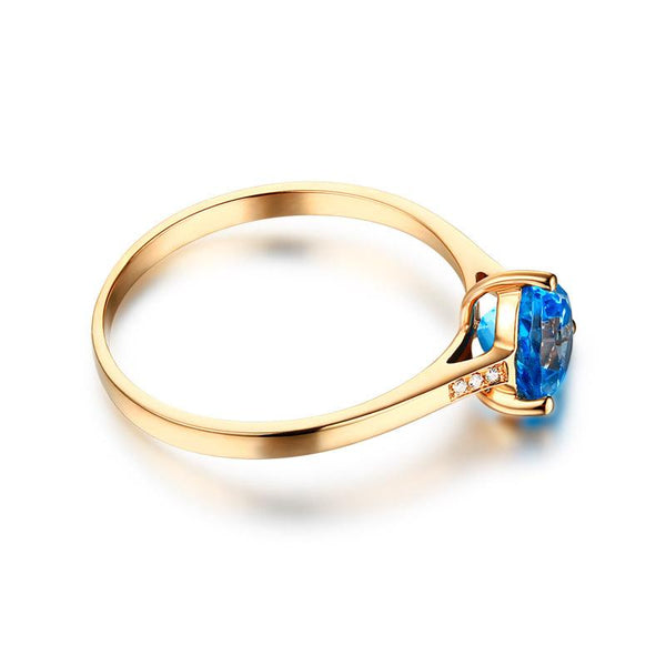 Natural Blue Topaz Gemstone Diamond Accent Engagement Ring in 18K Gold - Ables Mall