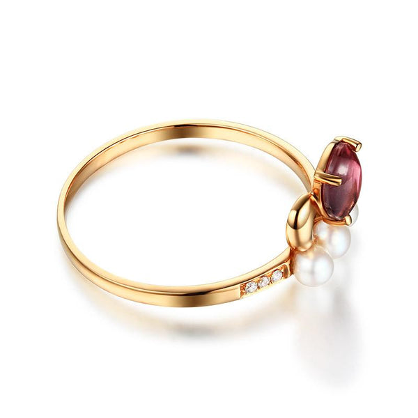Natural Pink Tourmaline Gemstone Diamond And Pearl Accent Engagement Ring in 18K Gold - Ables Mall
