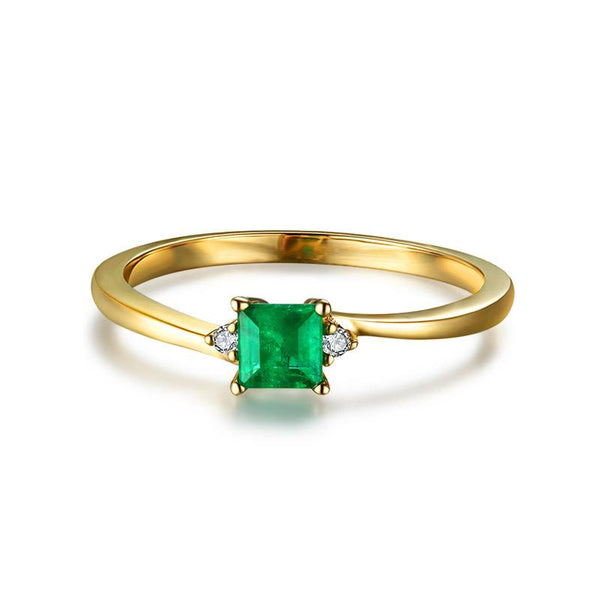 Natural Square Emerald Gemstone Diamond Accent Engagement Ring in 18K Gold - Ables Mall