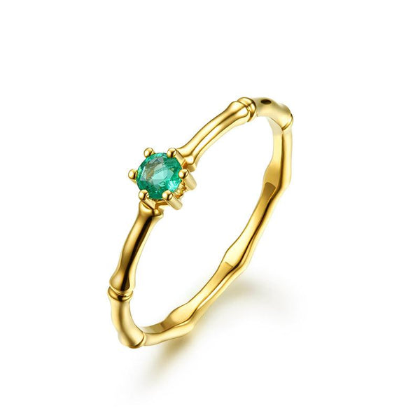 Natural Emerald Solitaire Gemstone Engagement Ring in 18K Gold - Ables Mall