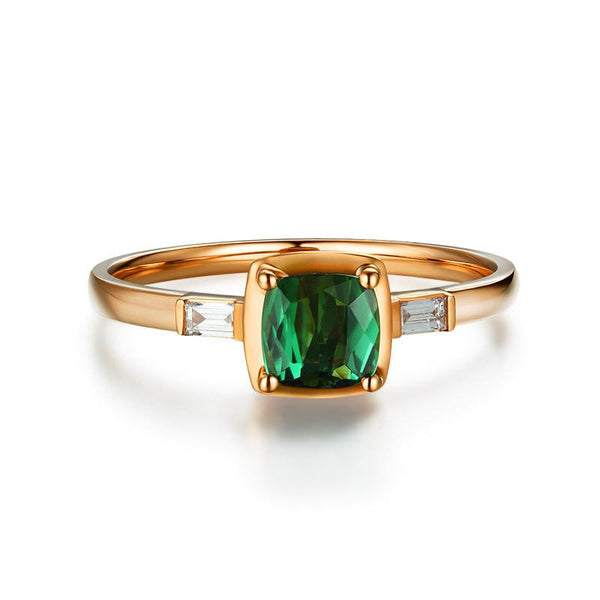 Green Tourmaline Gemstone Diamond Accent Engagement Ring in 18K Gold - Ables Mall