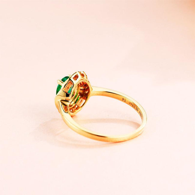 Natural Oval Emerald Gemstone Diamond Accent Engagement Ring in 18K Gold - Ables Mall