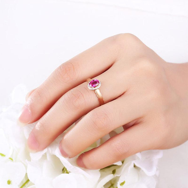 Pink Ruby Gemstone Diamond Accent Halo Engagement Ring in 18K Gold - Ables Mall