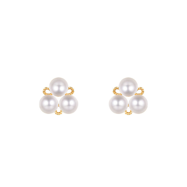 3 Stone Gold Earring Setting Findings for Pearl Factory Wholesale Z6F5EG11003