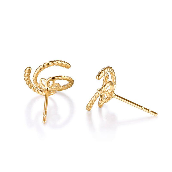 Rope Pattern Gold Earring Setting Findings for Pearl Factory Wholesale Z6F5EG11006