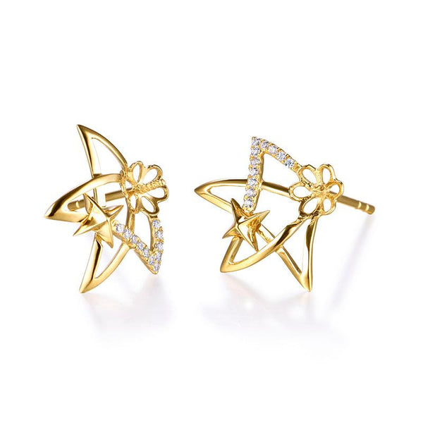 Cubic Zirconia Accent Stars Gold Earring Setting Findings for Pearl Factory Wholesale Z6F5EG11007