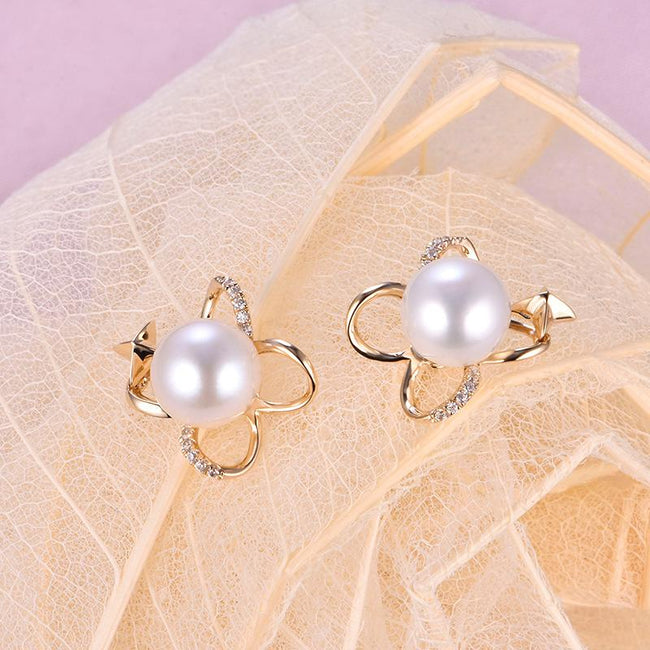 Cubic Zirconia Accent Butterfly Star Gold Earring Setting Findings for Pearl Factory Wholesale Z6F5EG11008