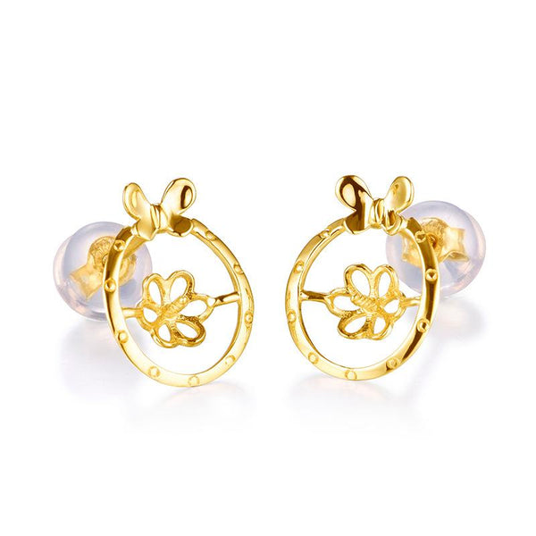 Butterfly Gold Earring Setting Findings for Pearl Factory Wholesale Z6F5EG11009