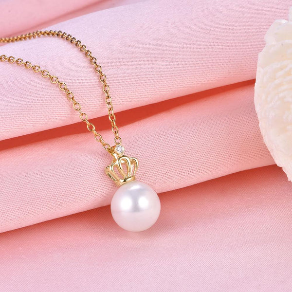 Cubic Zirconia Accent Crown Gold Pendant Setting Bail Findings for Pearl Factory Wholesale Z6F5PG11002