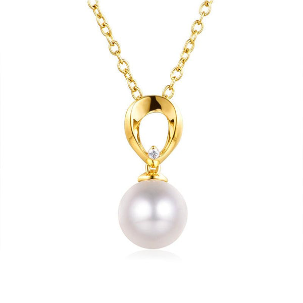 Teardrop Gold Pendant Setting Cubic Zirconia Accent Bail Findings for Pearl Factory Wholesale Z6F5PG11006