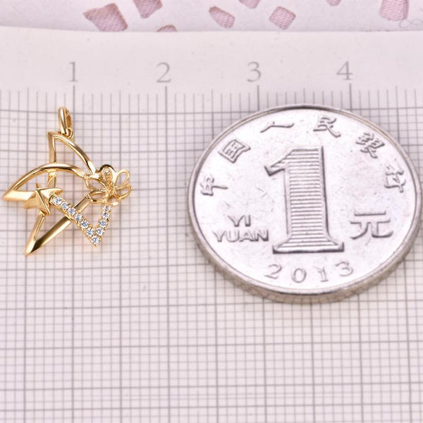 Star Gold Pendant Setting Cubic Zirconia Accent Bail Findings for Pearl Factory Wholesale Z6F5PG11008