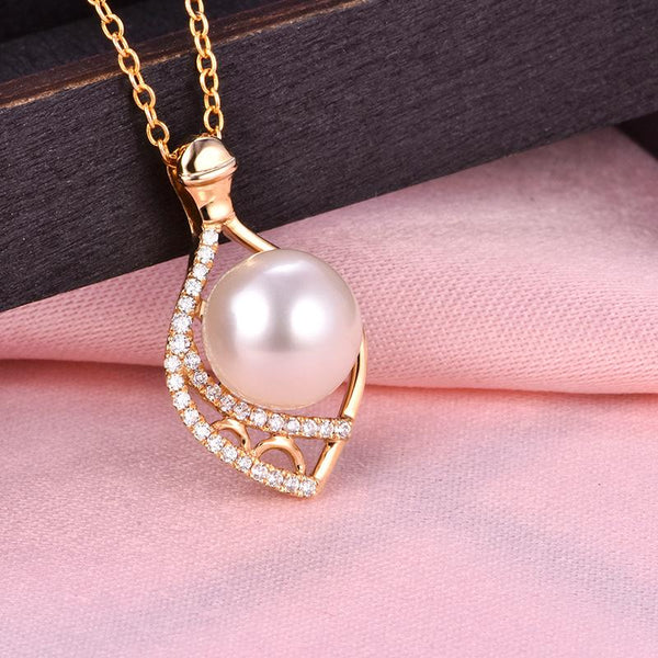 Cubic Zirconia Accent Gold Pendant Setting Bail Findings for Pearl Factory Wholesale Z6F5PG11010