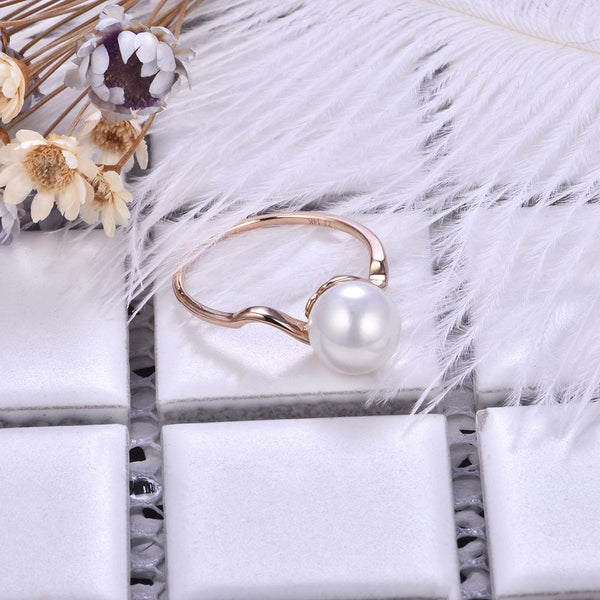 Solid Gold Curved Ring Setting Findings for Pearl Factory Wholesale Z6F5RG11003