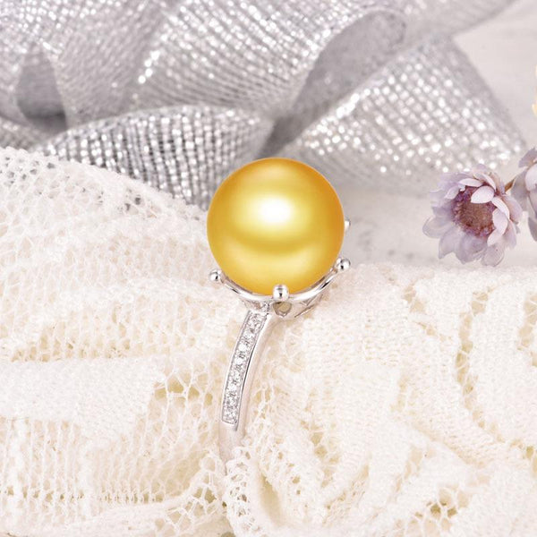 Cubic Zirconia Paved 6 Prong Gold Ring Setting Findings for Pearl Factory Wholesale Z6F5RG11004