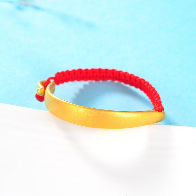 Babies 24K Solid Gold Crescent Bracelet Lucky Red String Anklet - Ables Mall