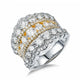 Two Tone Split Shank Designer Cluster Set Diamond Engagement Ring Wedding in 18K Gold 3.4 CT.TW
