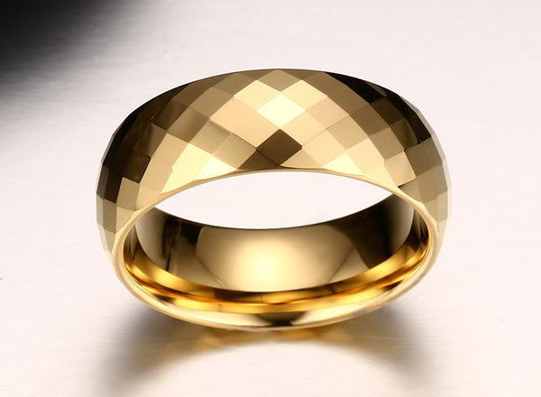 Gold Tungsten Faceted Engagement Ring Sparkling Band Plated Wholesale 8mm - Ables Mall