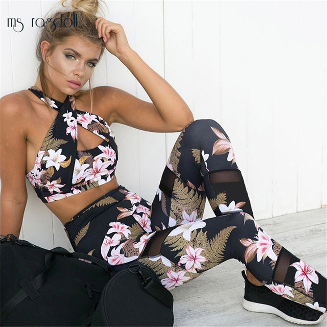 2 Piece Yoga Set Floral Print Bra and Leggings