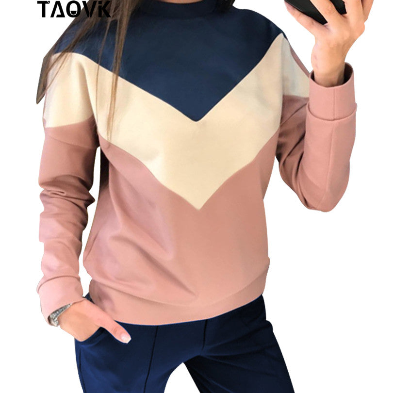 Color Stitching Tracksuit round neck pullover sweatshirt and pant two piece set