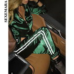 2 Piece Set Top And Pants Satin Striped Tracksuit