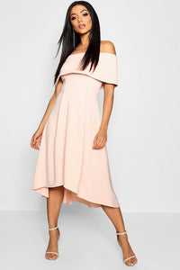 Mina Folded Off Shoulder Dip Hem Skater Dress-Woven Trends